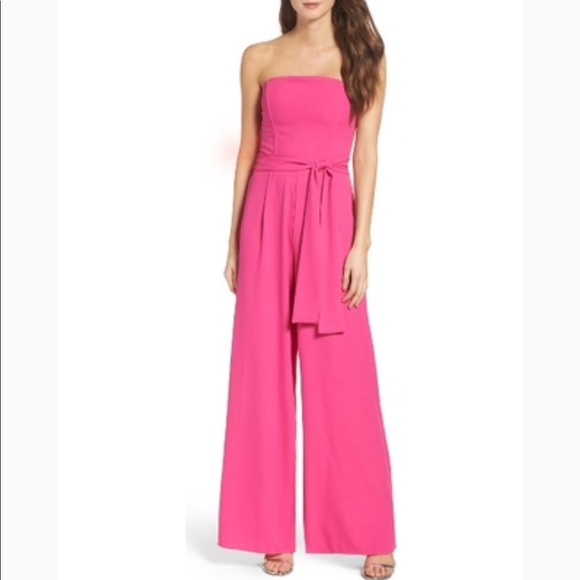 8da7f5db854c Chelsea28 Pants - Chelsea28 Hot Pink Strapless Wide Leg Jumpsuit XL